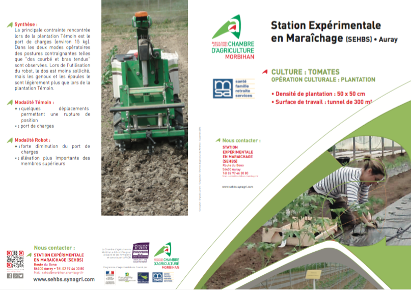 Etude robots et pénibilité travail agricole - Station expérimentale Bretagne Sud